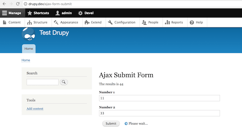 our ajax submit form in action