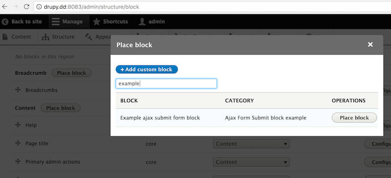 placing our custom block in the content region